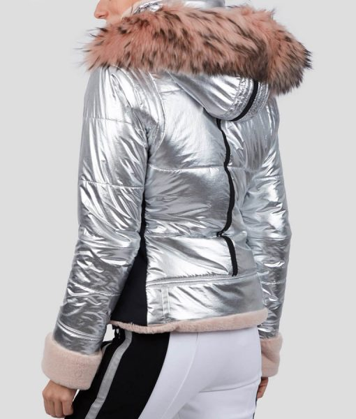 Spinning Out Mandy Davis Silver and Pink Fur Hooded Jacket
