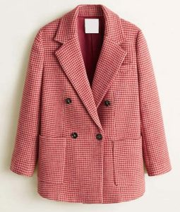 Pink Double Breasted Taylor Swift Houndstooth Coat