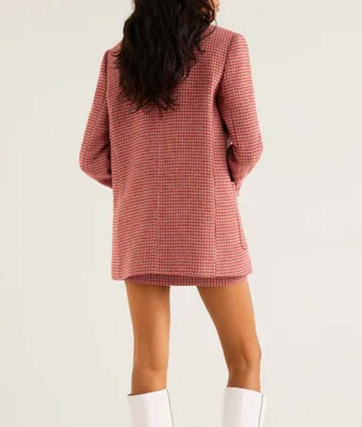 Taylor Swift Pink Houndstooth Coat