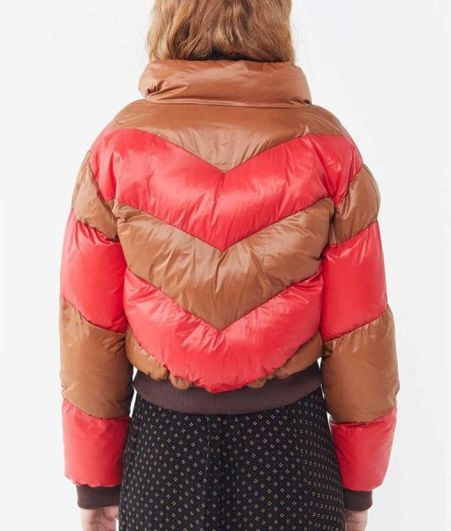 Spinning Out Red and Tan Cropped Puffer Jacket