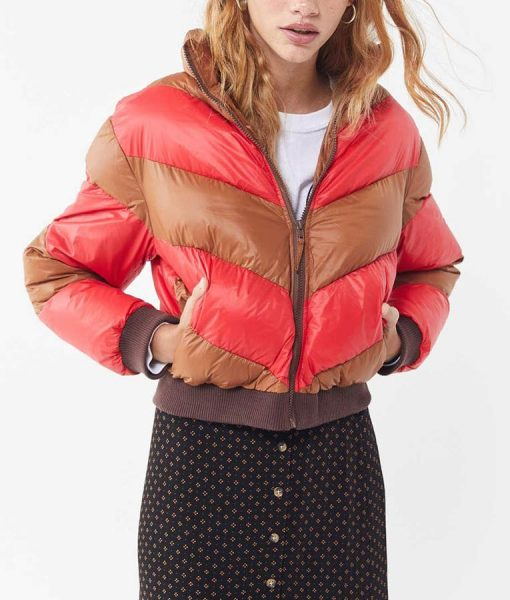 Willow Shields Red and Tan Cropped Spinning Out Puffer Jacket