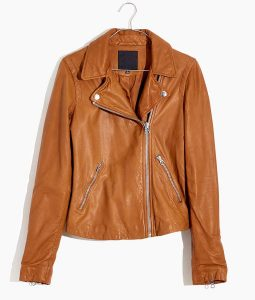 Womens Brown Washed Leather Moto Jacket
