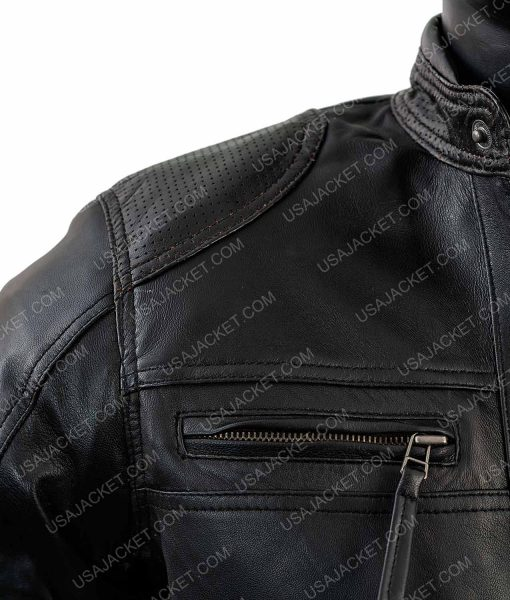 Black Lambskin Leather Cafe Racer Jacket