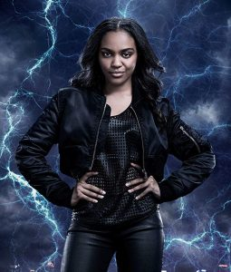 China Anne McClain Black Lightning Leather Jacket