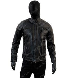 Black Leather Mens Biker Jacket