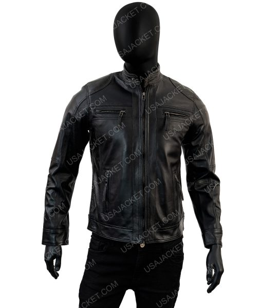 Cafe Racer Black Lambskin Leather Jacket For Men's