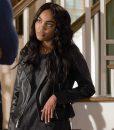 China Anne McClain Black Lightning Leather Jacket