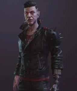 Cyberpunk 2077 Zane Devon Black Leather Studded Jacket