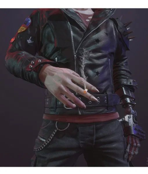Cyberpunk 2077 Dracula Black Leather Jacket With Studs