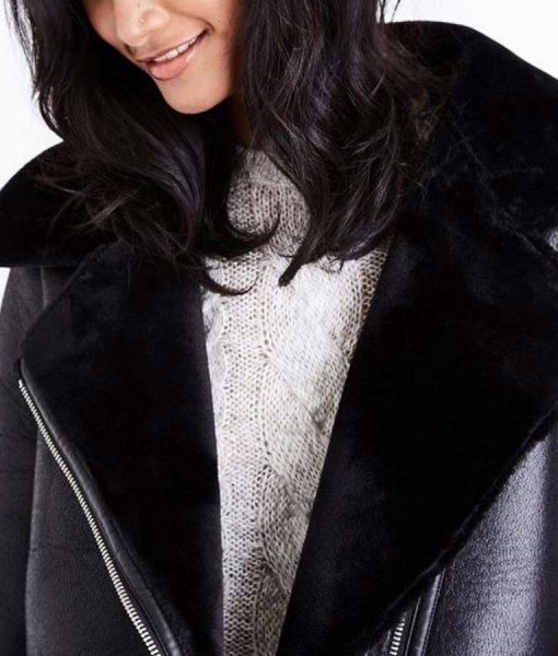 Laysla De Oliveira Lock & Key Shearling Leather Jacket