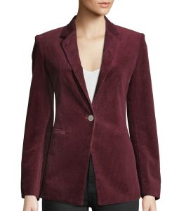 Cara Bloom God Friended Me One-Button Corduroy Blazer