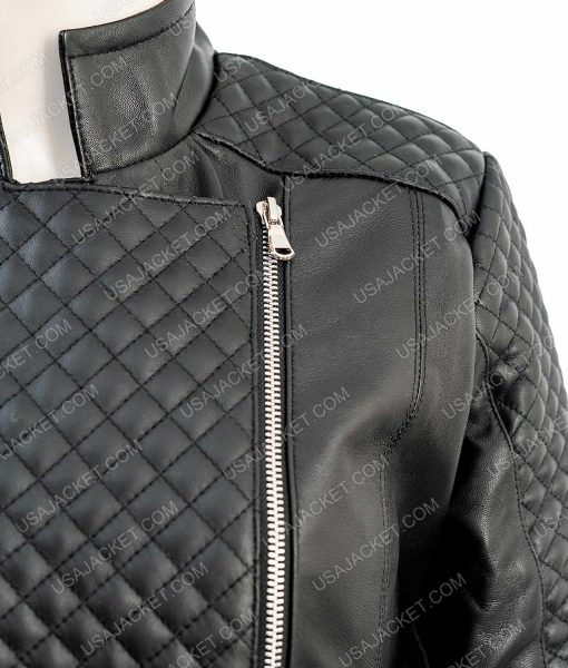 Black Leather Quilted Moto Jacket