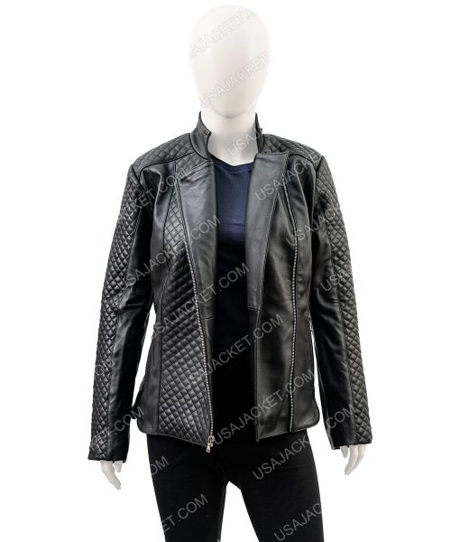 Isabella Black Leather Quilted Jacket