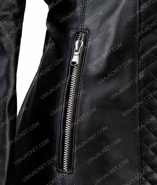 Isabella Black Leather Quilted Motorcycle Jacket