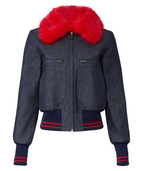 Katy Keene Fur Collar Dark Denim Bomber Jacket