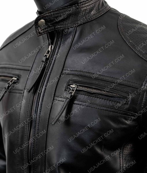 Mens Biker Lambskin Leather Jacket