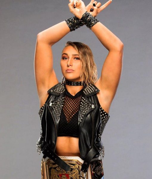 WWE Rhea Ripley Leather Vest With Studs