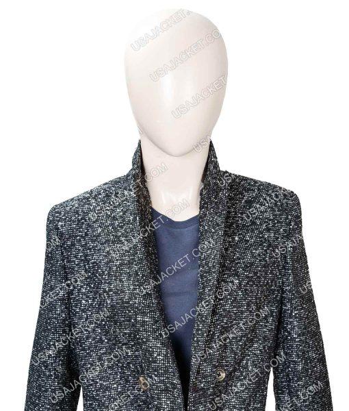 Elizabeth Lail You Season 2 Grey Wool-Blend Trench Coat