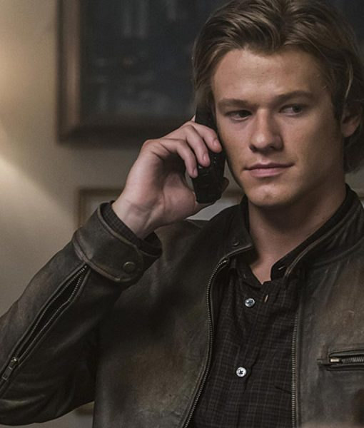 Lucas Till Angus MacGyver Distressed Brown Leather Jacket