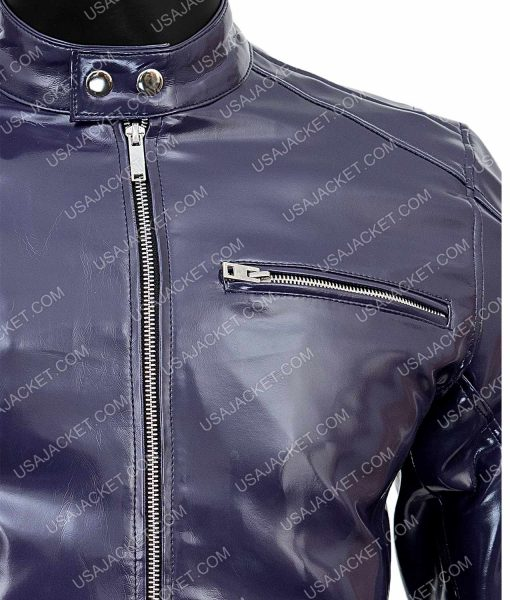 Slimfit Mens Purple Leather Jacket