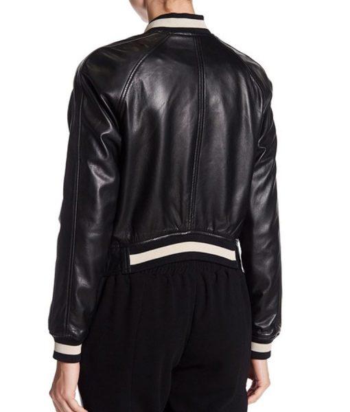 Dare Me Colette French Leather Bomber Jacket