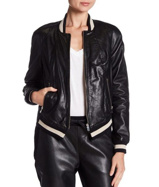 Willa Fitzgerald Dare Me Leather Bomber Jacket