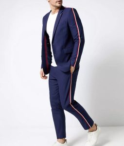 Navy Side Stripe Skinny Fit Suit