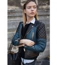 Martha Hunt Street Style Quilted Leather Jacket