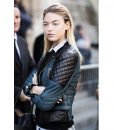 Fashion Model Martha Hunt Street Style Quilted Leather Jacket