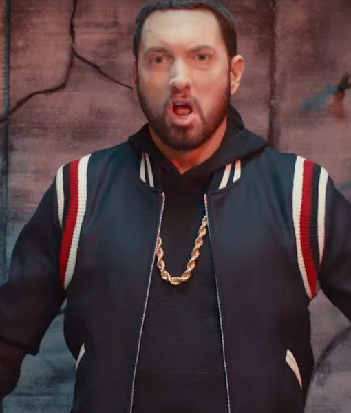 Godzilla Eminem Black Varsity Jacket