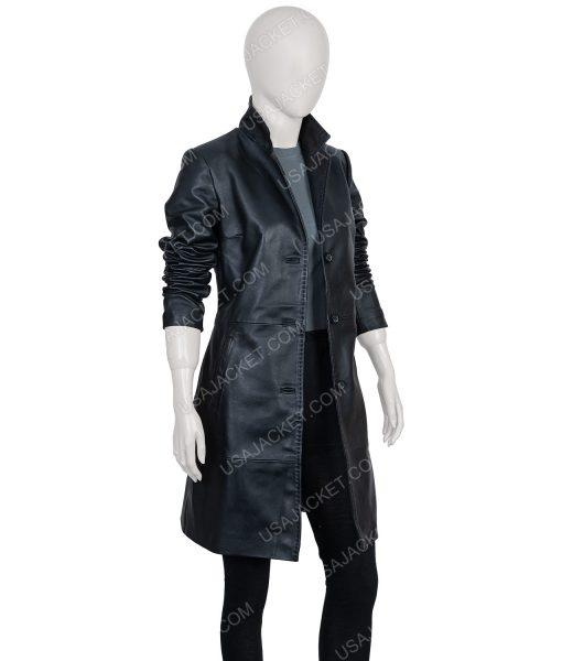Zoe Kravitz Leather Coat