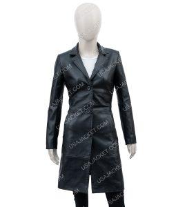 High Fidelity Zoe Kravitz Black Leather Trench Coat
