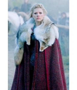 Lagertha Vikings Red Cloak With Wolf Skin