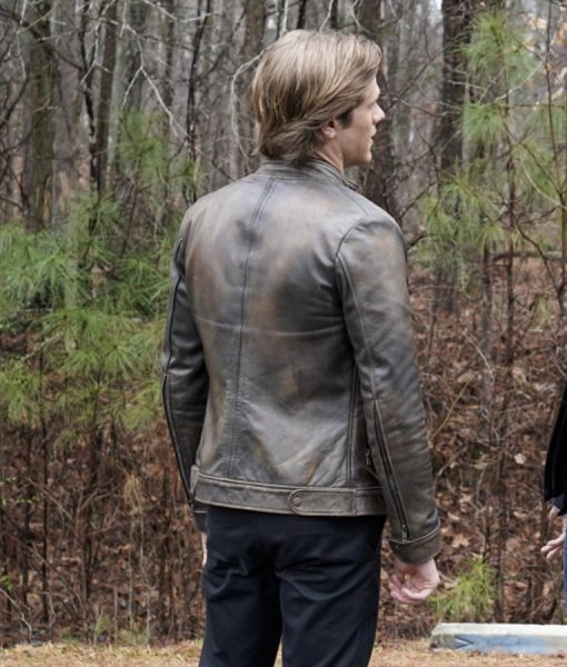 Lucas Till MacGyver Distressed Leather Jacket