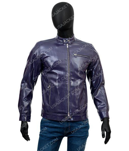 Mens Casual Purple Motorcycle Jacket