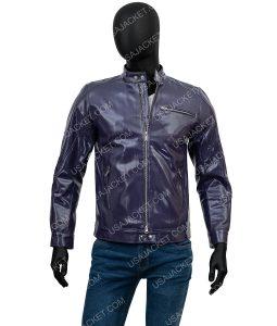 Mens Purple Cafe Racer jacket