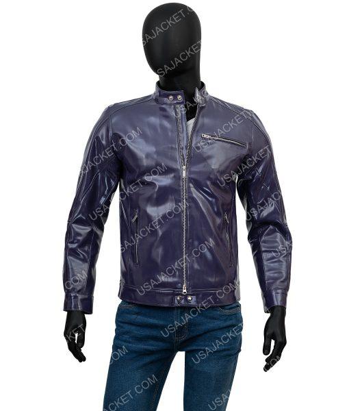 Mens Slimfit Leather Biker Jacket
