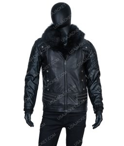 Seth Rollins black jacket with fur collar