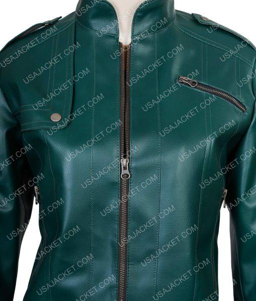 Women's Designer Motorcycle Green Jacket