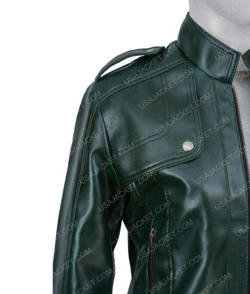 Women's Green Moto Jacket