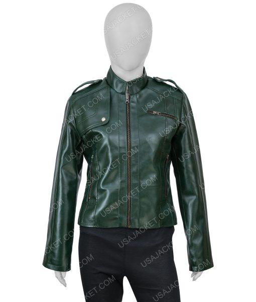 Women's Green Faux Leather Moto Green Jacket