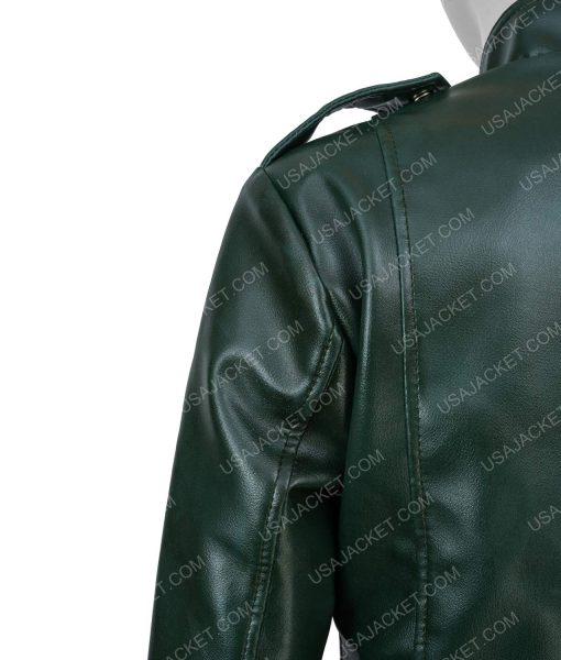 Women's Green Faux Leather Moto Jacket