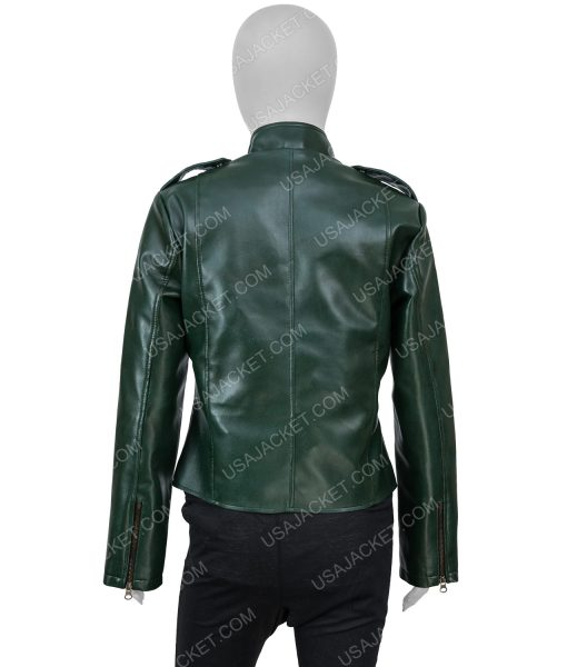 Women's Green Leather Moto Jacket
