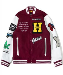 BlackAF Kenya Barris Burgundy Varsity Jacket