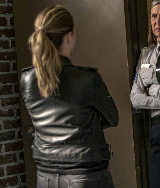 Chicago P.D. Haoley Upton Black leather jacket