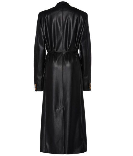 Dynasty S03 Ep16 Fallon Carrington Black Leather Trench Coat