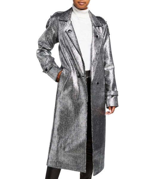 Dynasty S03 Ep16 Fallon Carrington Silver Metallic long Coat