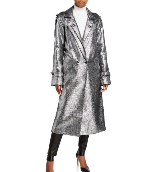 Dynasty S03 Ep16 Fallon Carrington Silver Metallic Trench Coat