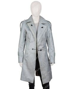 Dynasty S03 Elizabeth Gillies Silver Metallic Coat
