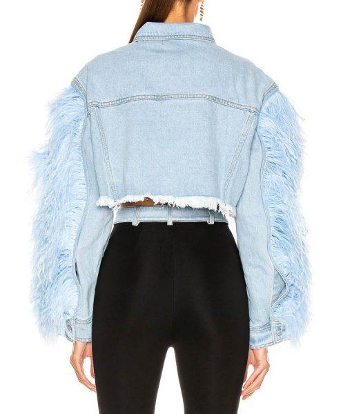 Dynasty Feather Sleeve Denim Jacket